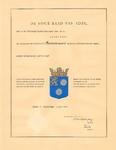 1987 Diploma verleend door de Hoge Raad van Adel van het wapen van het Polderdistrict Bommelerwaard