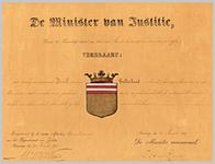 2528 Diploma verleend door de minister van justitie van het wapen van de gemeente Driel