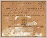 435 Diploma verleend door de Hoge raad van Adel van het wapen van de gemeente Hedel