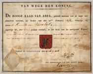 663 Diploma verleend door de Hoge Raad van Adel van het wapen van de gemeente Brakel