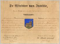 1217 Diploma verleent door de minister van justitie van het wapen van de gemeente Heerewaarden
