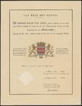 7 Diploma verleend door de Hoge Raad van Adel van het wapen van de gemeente Ammerzoden