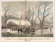 A100108 Een groep mensen kijkt toe hoe koning Willem I in een roeibootje aan land komt bij het veerhuis te Brakel. Op ...