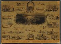 C100220 Prent van de watersnood in de Bommelerwaard in 1861, met 24 taferelen: verblijf der noodlijdenden in de ...
