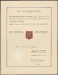 10263 Afschrift van het diploma verleend door de Hoge Raad van Adel vanj het wapen van de gemeente Brakel verleend op ...