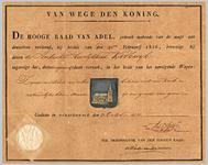 182 Diploma verleend door de Hoge raad van Adel van het wapen voor de ambachtsheerlijkheid Kerkwijk