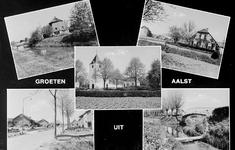 2-355 Groeten uit Aalst, met vijf inzetten: watermolen, boerderij Hambloksestraat, hervormde kerk, kerkpad en ...