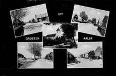 2-356 Groeten uit Aalst, met vijf inzetten: vier straatgezichten en hervormde kerk