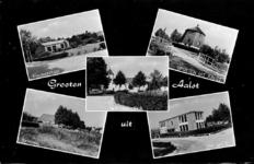 2-358 Groeten uit Aalst, met vijf inzetten: kleuterschool, watermolen, hervormde kerk, kerkpad en christelijke ULO