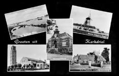 14-1860 Groeten uit, met vijf inzetten: Oude Maas, molen, gemeentehuis, katholeike kerk en hervormde pastorie Johanna ...