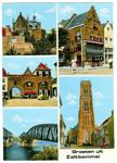 22-9535 Groeten uit, met vijf inzetten: Maarten van Rossemhuis, Waterpoort, Bruggen, Wapen van Gelre en Sint Maartenstoren