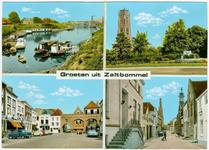 22-9536 Groeten uit, met vier inzetten: haven, Sint Maartenstoren en fontein, Waterpoort en Gasthuistoren