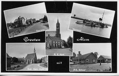 3-10007 Kaart met vijf inzetten: veerweg, veerpont, katholieke kerk, Hervormde kerk en katholieke lagere school