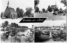 3-10016 Groeten uit, met vier inzetten: Hervormde kerk, katholieke kerk en twee opnamen van de camping en haven