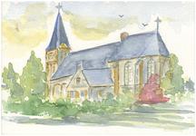 15-10023 Aquarel hervormde kerk