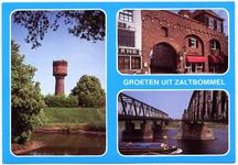 22-10558 Groeten uit, met drie inzetten: oude watertoren, waterpoort en verkeers- en spoorbruggen