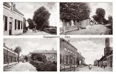 3-10017 Dorpsgezichten Alem, met vier inzetten van oude prentbriefkaarten van Alem, Kerkdriel en Velddriel